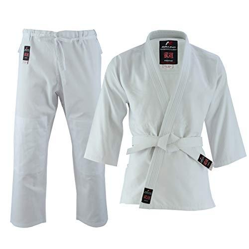 Malino Uniforme de Estudiante Judo-gi Traje Peso Medio para niños con cinturón algodón 450Gsm Blanco tamaño 0000/100