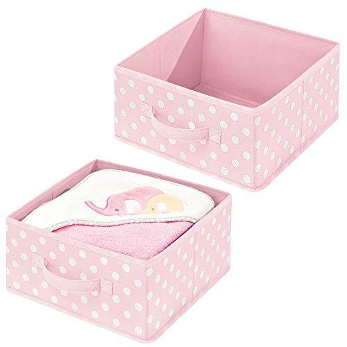 mDesign Juego de 2 cestas organizadoras de tela – Cajas de tela de uso flexible con asa y diseño de lunares – Organizador de armarios para el baño, dormitorio o cuarto infantil – rosa claro/blanco