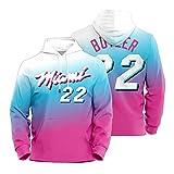 Jimmy Butler Hoodie Pullover para Hombre, Miami Heat 22# 2021 New City Edition Basketball Suéter Unisex Manga Larga Moda Sudadera (XS-2XL)