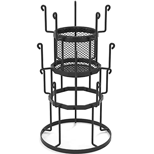Auledio 3 Tier Countertop Tree Stand Organizer with Storage Basket,15 Mug Capacity Holder for Coffee, Glasses, and Cups, Black