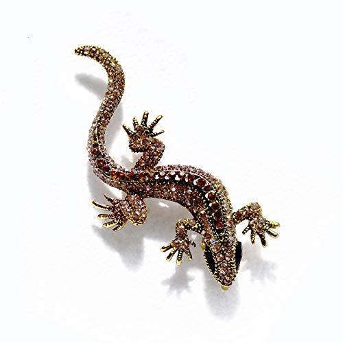 CYPZ 2 Piezas Animal Series Broche Gecko Rhinestone Broche Pintado Broche de Cristal Personalidad Unisex