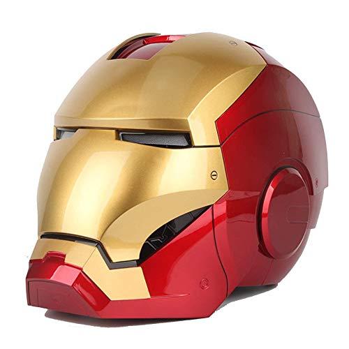 ZYZQ Avengers Hierro Hombre Casco Casco Mascarillas Cara Completa Unisex 1: 1 Ratio Altura Lifelike Superhéroe Control de Voz ABS Halloween Carnival Cosplay Prop,Red