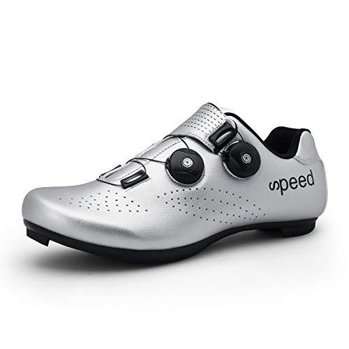 Zapatillas de Ciclismo Zapatillas MTB para Hombre Zapatillas de Bicicleta de Carretera Zapatillas de Ciclismo Deportivas Completas Zapatillas de Ciclismo de Carretera Plata 47