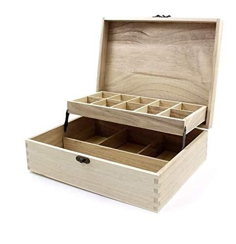 takestop® Caja cajonera 14Compartimentos 28x 21x 8.5cm Madera RF 63812joyero Plegable Escritorio...