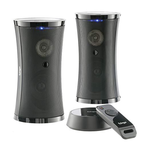 Altavoces inalámbricos exclusivos con Mando a Distancia y Sonido estéreo Envolvente (2 x 5 W RMS / 100 W PMPO/Plug&Play / IPX3 / 100 m de Alcance) para Interior y Exterior/sin Cables