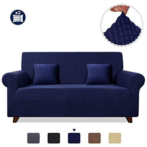 TAOCOCO Funda de Sofá/Funda de sofá Antideslizante/Funda de Fofá Elástica/Lavable/Antiácaros/Antiarrugas (Azul Oscuro/ 3 Plazas 180-240 cm)