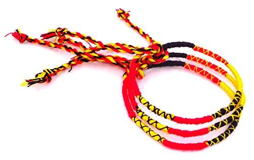 Lot 3 Bracelets Brésiliens Belgique jaune rouge noir Amitié Macramé coton Friendship Porte Bonheur