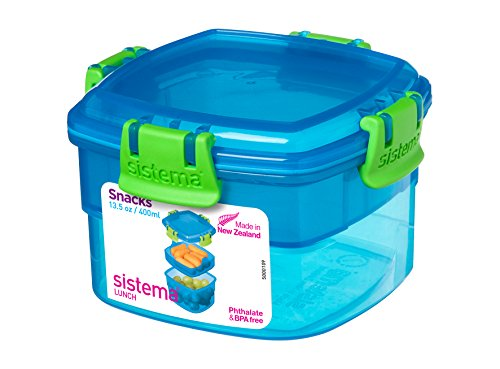 Sistema Snack Box to Go 400ml in blau, Plastik, 11.1 x 11.1 x 7.2 cm