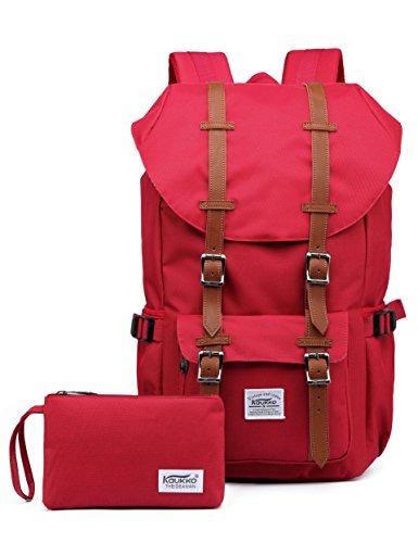 KAUKKO Laptop Outdoor Backpack Travel Hiking Camping Rucksack Casual College Daypack Fits 15' (Nred 2pcs)