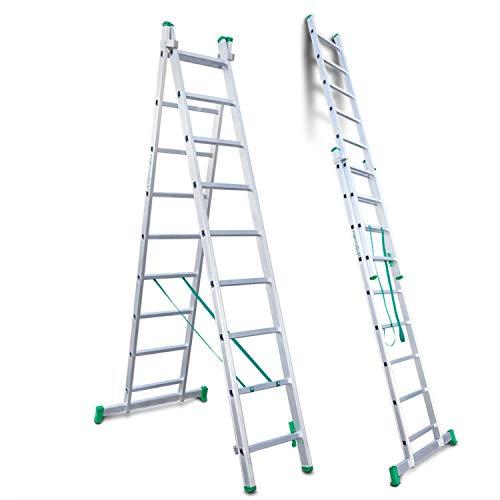 Escalibur | ES.DOBLE | Escalera de Aluminio | Escalera 9 Peldaños | 260x90x12 cm |Amplia base estabilizadora| Peldaños antideslizantes |Máxima seguridad| Fácil Transporte