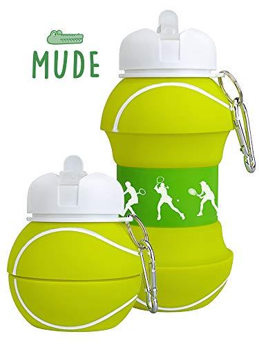 Mude-Borraccia Tennis-550 millilitri-Divertente e Indistruttibile, In Silicone Apribile e Richiudibile, Antigoccia-Senza BPA-Per Ragazzo e Ragazza-Idea regalo e Scuola