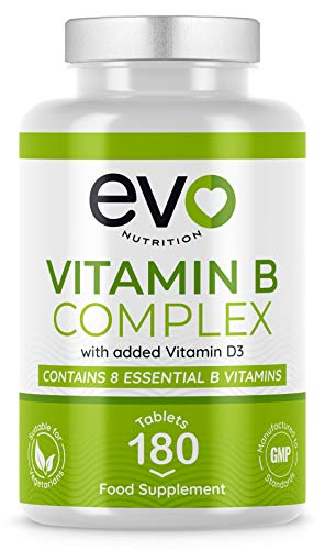 Vitamin B Complex enriched with Vitamin D3 | Contains All 8 Essential B Vitamins, Including Biotin, Vitamin B12, B1, B6 | 180 Vegetarian Tablets 6 Months' Supply | Made in The UK