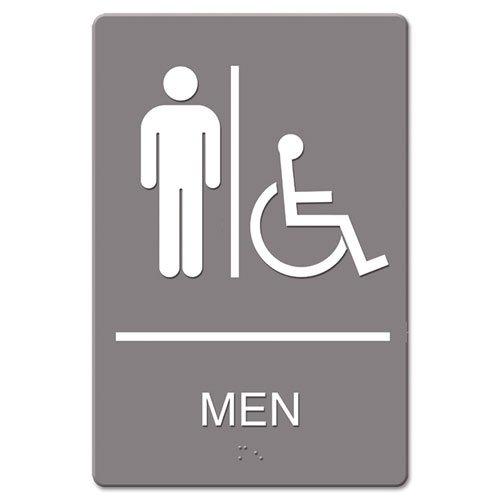 o Quartet o - ADA Restroom Sign, Men Wheelchair Accessible Symbol, Molded Plastic, 6 x 9