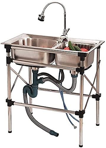 Fregaderos comerciales, Fregaderos comerciales independientes con grifo y dos lavabos, lavabo de acero inoxidable de acero inoxidable 304, lavabo de servicios públicos para garaje Restaurante