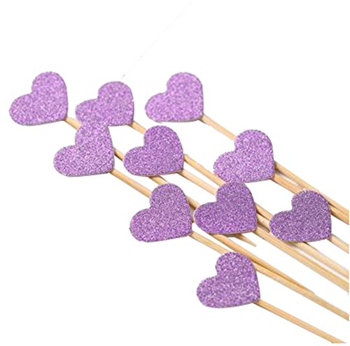 KALAIEN 50PCS Heart Cupcake Toppers Picks for Wedding and Baby Birthday Twinkle Gold Large Cake Decorations (Purple)