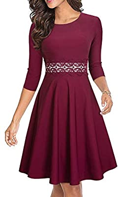 HOMEYEE Women's Sleeveless Cocktail A-Line Embroidery Party Summer Wedding Guest Dress A079 (10, L+ Carmine-Fabric B)
