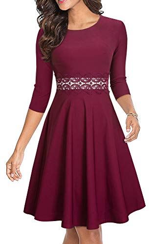 HOMEYEE Women's Cocktail A-Line Embroidery Party Summer Wedding Guest Dress A079 (4, Carmine-3/4 Sleeve)