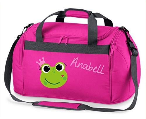 große Sporttasche mit Namen | inkl. Namensdruck | Motiv Frosch-Königin | Stofftasche Reisetasche Umhängetasche für Kinder Mädchen Krone grün rosa schwarz (pink)