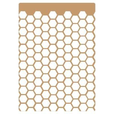 TODO-STENCIL Deco Fondo 008 Panel Hexágonos. Medidas aproximadas: Medida Exterior 20 x 30 cm Medida del diseño:15,9 x 25,8 cm