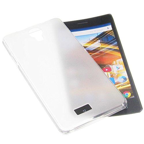 foto-kontor Tasche für Archos 50d Neon Gummi TPU Schutz Handytasche transparent weiß