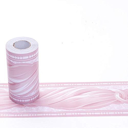 selbstklebende Bordüre Rosa Wasserdichte PVC Klebe Bad Bordüre Küche Wandbordüre Muster für Wohnzimmer Badezimmer Schlafzimmer Wanddeko 10X500cm
