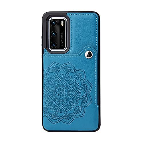 Funda protectora, Para el soporte de la tarjeta de la caja del teléfono de Huawei P40, los botones magnéticos de cuero de PU a prueba de golpes a prueba de golpes para Huawei P40 ( Color : Dark Blue )