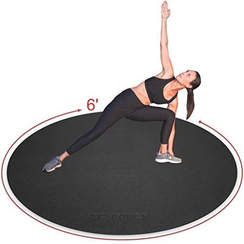 SCHRINER Pro Large Round High Density Exercise Mat 6' x 6mm for Workout, Jump Rope, Cardio, Home Gym Flooring - Premium Extra Thick, Ultra Durable, Shoe Friendly, Non-Slip Fitness Mat