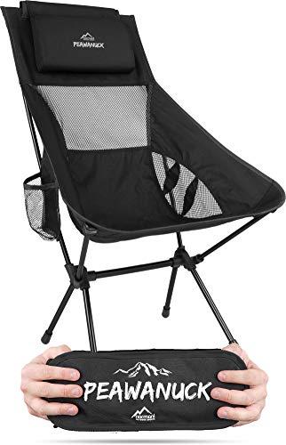 Ultraleichter klappbarer Campingstuhl mit Langer Rückenlehne und Kissen Outdoorstuhl Strandstuhl Reisestuhl Anglerstuhl - nur 995g! Traglast 150kg (330 lbs) Farbe Schwarz