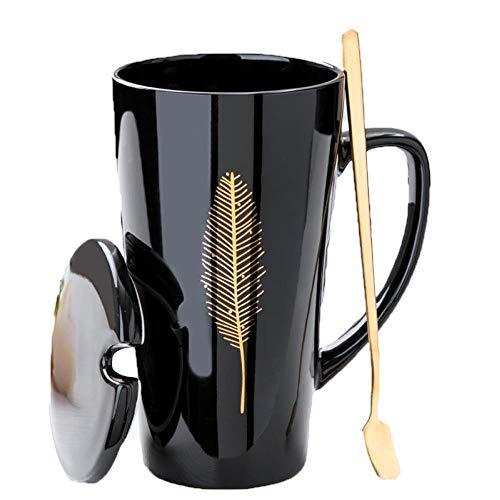 MUXUE Tasse à café en céramique de Grande capacité Mug Noires personnalisées de Haute Tasses à thé avec Couvercle cuillère Tasse de Couple 500ML Cadeau pour Noël, Saint Valentin, Anniversaires