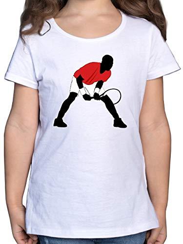 Sport Kind - Tennis Squash Aufschlag Annahme - 128 (7/8 Jahre) - Weiß - F131K_Shirt_Mädchen - F131K - Mädchen Kinder T-Shirt