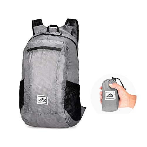 Lywencom Zaino da trekking, ultraleggero, 20 l, impermeabile, pieghevole, leggero, impermeabile, adatto per campeggio all'aperto, picnic (Grey)