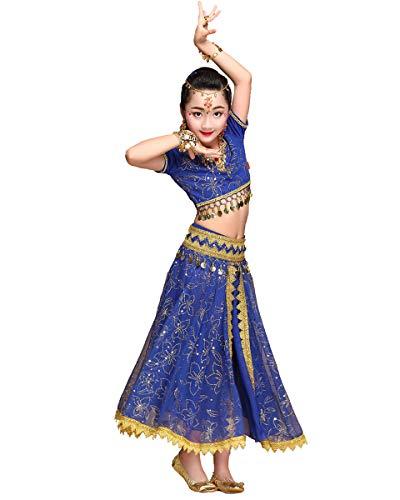 Grouptap Bollywood Lehenga Choli indische Mädchen Anarkali Saree Kinder Hochzeit Designer Tanz Bluse Kleid blau Lengha Kostüm (Blau, 110-130 cm)
