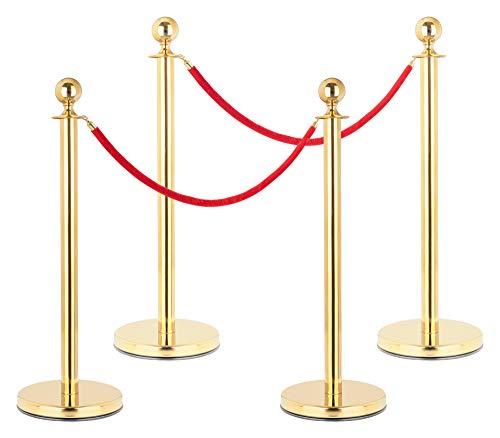 Stagecaptain PLS-150 Deluxe 4.2-150G Absperrständer Personenleitsystem - 4 Edelstahl-Stative und 2 rote Seile mit 1,5m Länge - Für Konzerte, Ausstellungen, Hotels, Kinos u.v.m. - gold