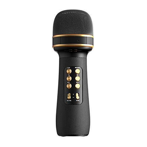 MAGIC SELECT Micrófono Karaoke con Altavoz Bluetooth, Altavoz 4D con reducción de ruido, Disparador Selfie, Radio FM, Grabador de voz con tarjeta SD, Efectos de voz y Eco, para niños y fiestas (Negro)