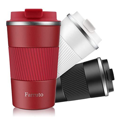 Farruto Thermobecher Kaffeebecher to go 13oz 380ml 100% Auslaufsicher - Coffee to go, Kaffee & Tee Isolierbecher Travel Mug (Rot)