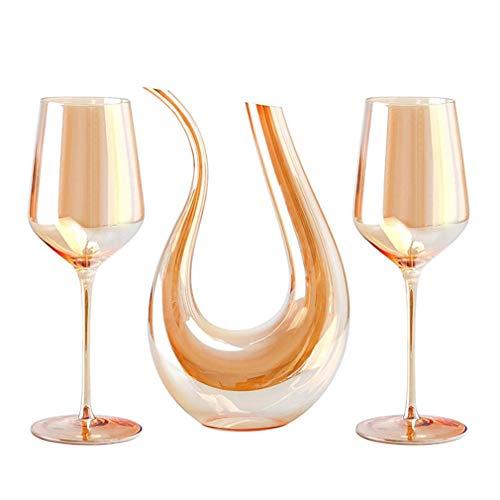 Decantador de botella de vino, decantador de vino artesanal de 750 ml y juego de 2 vasos de cristal, vidrio soplado a mano sin plomo, vino tinto y blanco, para cualquier ocasión, gran regalo, juego d