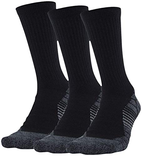 Under Armour Adult Elevated Performance Crew Socks, 3-Pairs , Black Halo Gray , Large