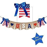 USA Banner Burlap