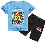 Silver Basic Tamaño de los Niños Sonic The Hedgehog Camiseta y Traje de Pantalones para Niños y Niñas Sonic Shadow Tails Disfraz de Cosplay Sonic Pijamas para Niños 130,Azul Sonic Team-3