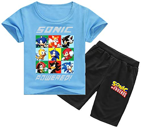 Silver Basic Tamaño de los Niños Sonic The Hedgehog Camiseta y Traje de Pantalones para Niños y Niñas Sonic Shadow Tails Disfraz de Cosplay Sonic Pijamas para Niños