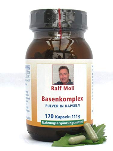 Basenpulver Ralf Moll Basenkomplex und 14-Tage-Ernährungsplan mit 21 basischen Rezepten zur Entsäuerung | Citrate, Brennnessel, Löwenzahn | 170 Kaps