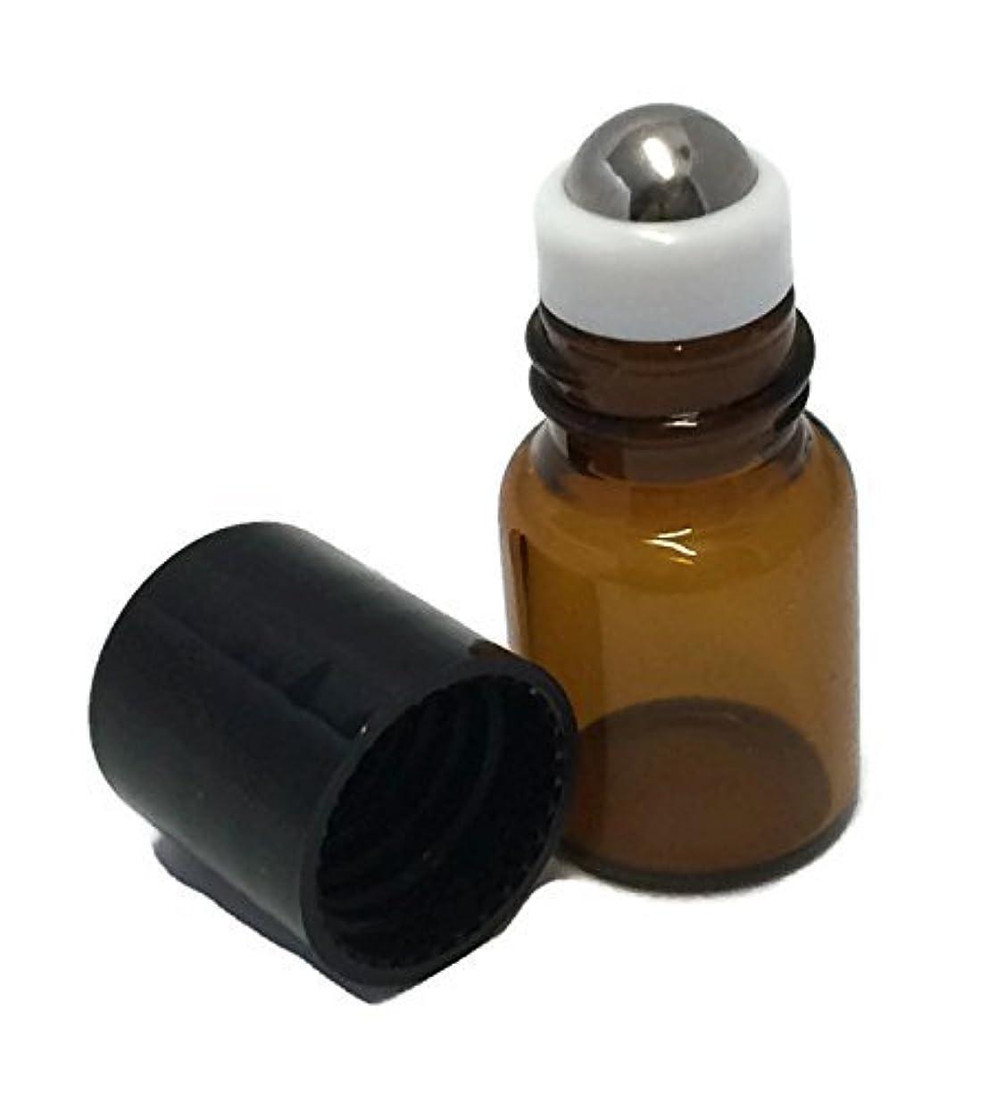 レンチ中絶デンマークUSA 72ea - Amber Glass 2 ml, 5/8 Dram Mini Roll-On Glass Bottles with Stainless Steel Roller Balls - Refillable Aromatherapy Essential Oil Roll On 72 [並行輸入品]
