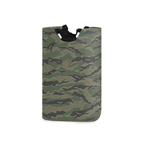 Exnundod Tiger Stripe Laundry Hamper Camouflage Oxford Clothes Basket Foldable Storage Bin with Large Handle 1 2.6x1 1 x22.7Inches Collapsible Bag for Travel,Home Toys,Kids Room,College Dorm