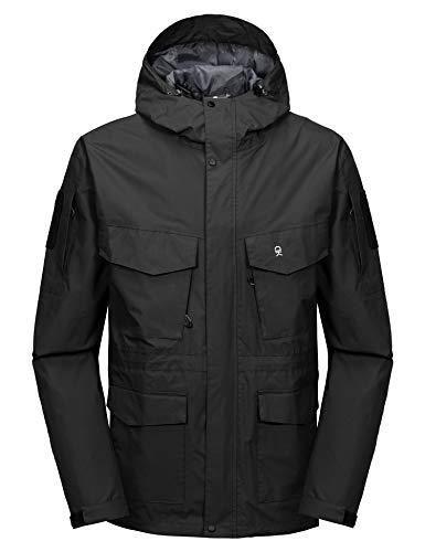 Little Donkey Andy Men's Waterproof Work Rain Jacket 12 Pockets Lightweight Outdoor Hiking Windbreaker Rain Coat Black XXL