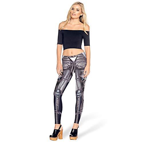 Weichunya Leggings para Mujer Estampado Digital Hierro Metal Armadura Legins Robot Leggins Pantalones Legging Entrenamiento Más tamaño Legins Halloween Metallic Feel (Color : Purple, Size : S)
