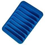 Home Seife Box Silikon Flexible Seifenschale Platte Badezimmer Seifenhalter Blau blau