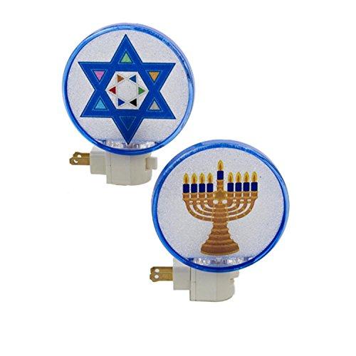 Kurt Adler 5' White and Blue Beaded Hanukkah Menorah Festive Night Light