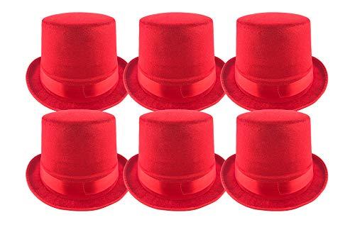 Pack 6 Sombrero chistera de Copa Rojo de Fieltro Satén Gorro de Ronda Mago con Cinta de Raso Accesorios del Traje de Fiesta