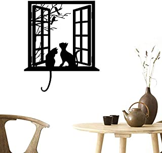 BIBITIME Tree Branch Fake Window Black Cats Wall Art Stickers for Bedroom Living Room Coffee Shop Vinyl Decals Nursery Bed...