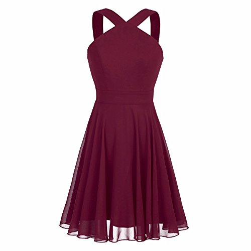 iiniim Womens Chiffon Criss-Cross Straps Evening Party Prom Gown Bridesmaid Short Dress Burgundy US Size 6